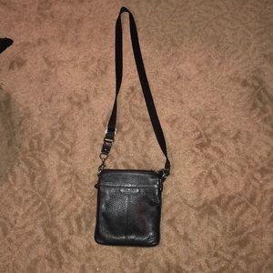 Black faux leather Coach satchel